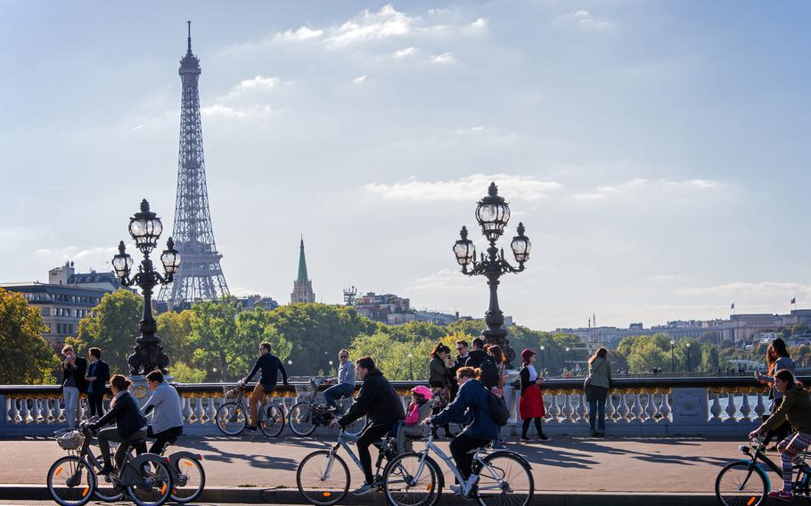 Biking is the new walking in Paris, as private car traffic has been banned on some major roads.