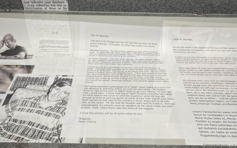 A letter from Peter Cherry, whose brother Pfc. Samuel Cherry was a victim in a helicopter crash that killed 37 U.S. soldiers Aug. 18, 1971 near Pegnitz, Germany. The letter is part of a display about the tragedy at the Museum for Cultural and Military History in Grafenwoehr.