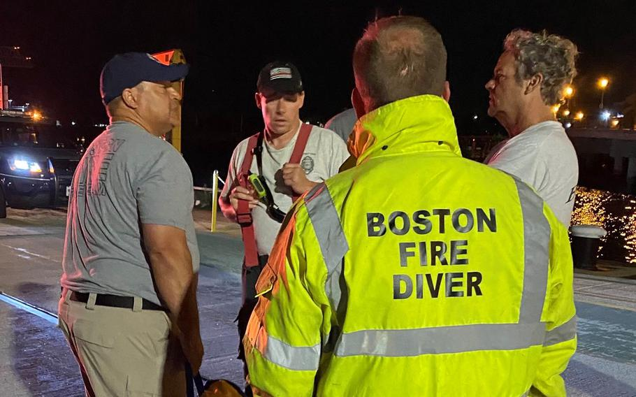 Responders with the Massachusetts State Police, Massachusetts Environmental Police, Boston Fire Department, Massport Fire and Boston EMS raced to find the victims of a boating accident in Boston Harbor on Saturday, July 17, 2021.
