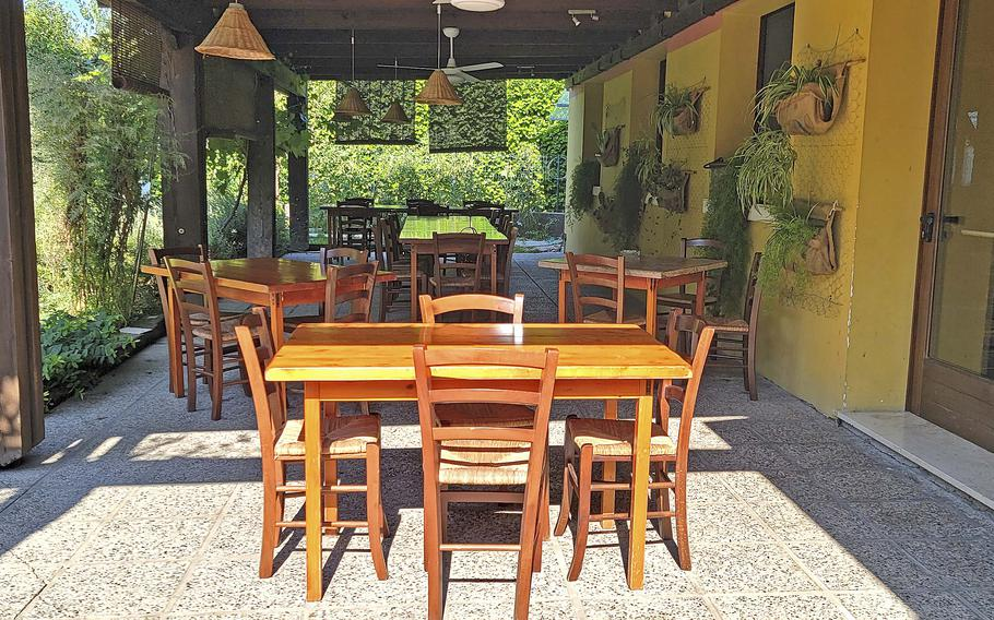Patio seating at Osteria El Gaucho, in Mansue, Italy, which is about a 30-minute drive from Aviano Air Base.