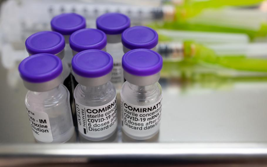 Vials of the Pfizer-BioNTech Covid-19 vaccine and syringes at a vaccination site inside the Incheon Samsan World Gymnasium in Incheon, South Korea, on June 8, 2021.