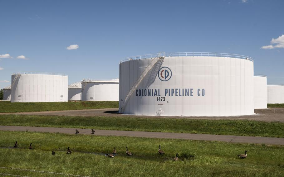 Storage tanks at a Colonial Pipeline Inc. facility in Avenel, N.J., on May 12, 2021.