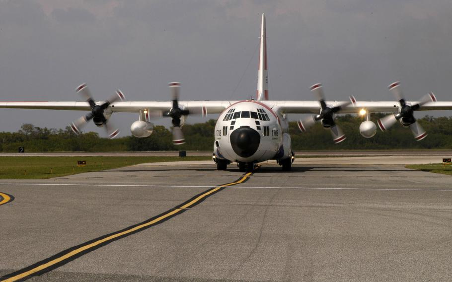 A Coast Guard C-130 waits to taxi to the active runway at Air Station Clearwater in 2007.