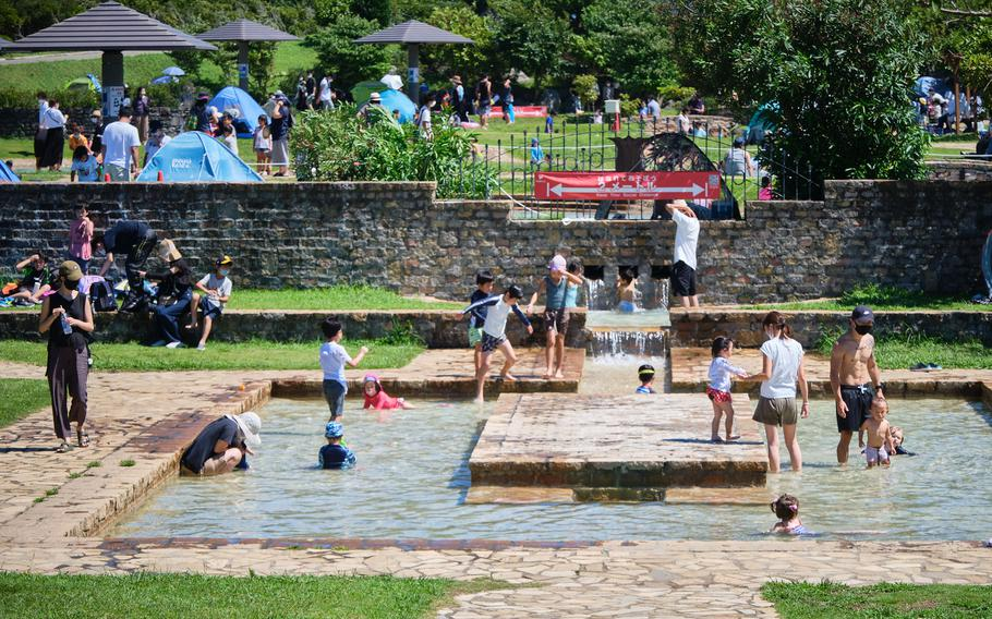 At Soleil Hill Park near Yokosuka Naval Base, Japan, you can enjoy one of the various water areas where kids and adults alike dip their feet or splash around to cool off.