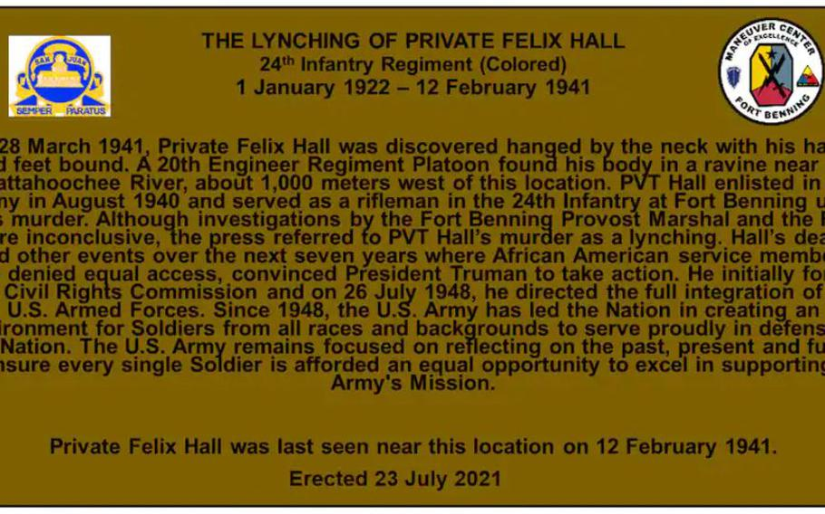 A digital mock-up of the plaque recognizing Felix Hall, to be unveiled Tuesday at Fort Benning, Ga.