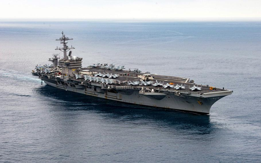 The aircraft carrier USS Carl Vinson transits the Pacific Ocean, July 11, 2021.