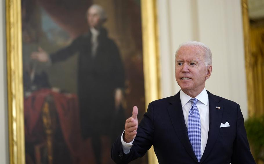President Joe Biden answers a question from a reporter after he spoke about coronavirus vaccine requirements for federal workers in the East Room of the White House in Washington on Thursday, July 29, 2021.
