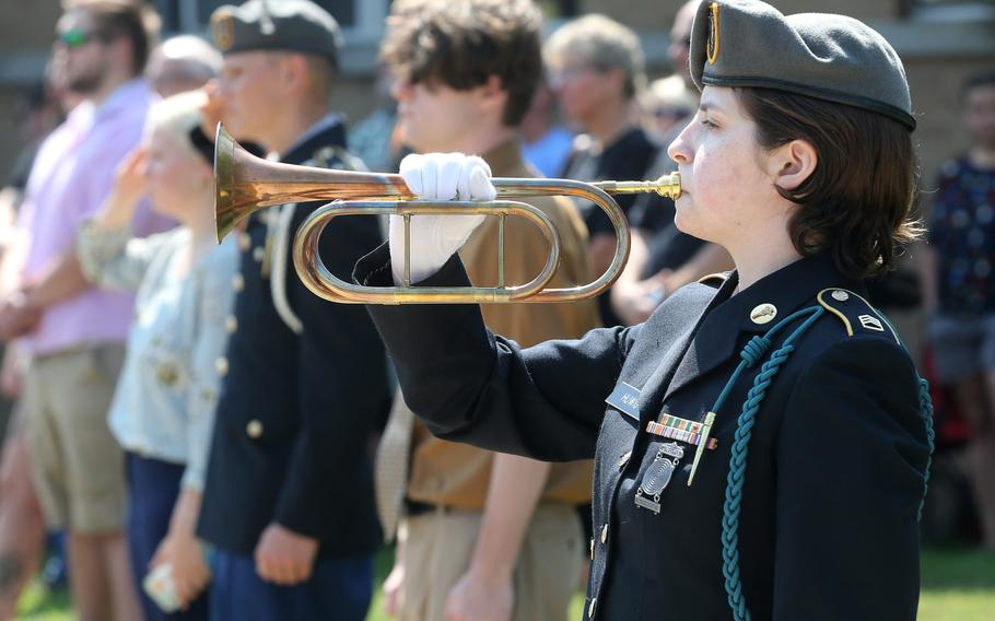 Staff Sgt. Deven Huwig plays Taps during a 10th anniversary memorial service for Marines Sgt. Daniel Patron in Perry Township on Saturday, Aug. 21, 2021. Patron died Aug. 6, 2011, while defusing a roadside bomb while serving in Afghanistan.