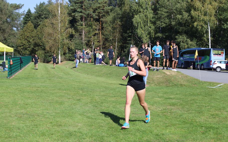 Stuttgart's Sydney Lamphier finished first in the girls' race with a time of 21 minutes, 28 seconds at Vilseck, Germany, Saturday, Sept. 25, 2021.