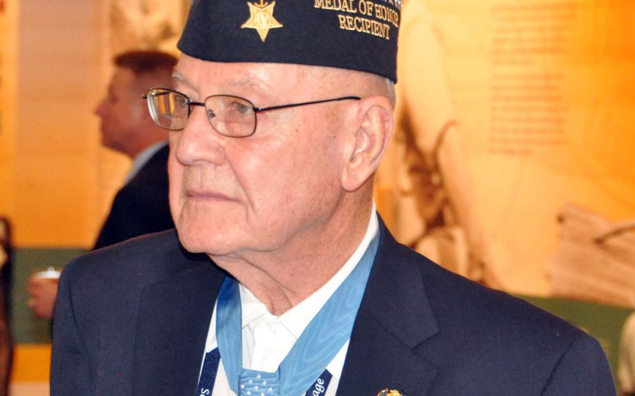 Duane Dewey received the Medal of Honor from President Dwight Eisenhower for his heroic actions near Panmunjom, Korea, April 16, 1952.