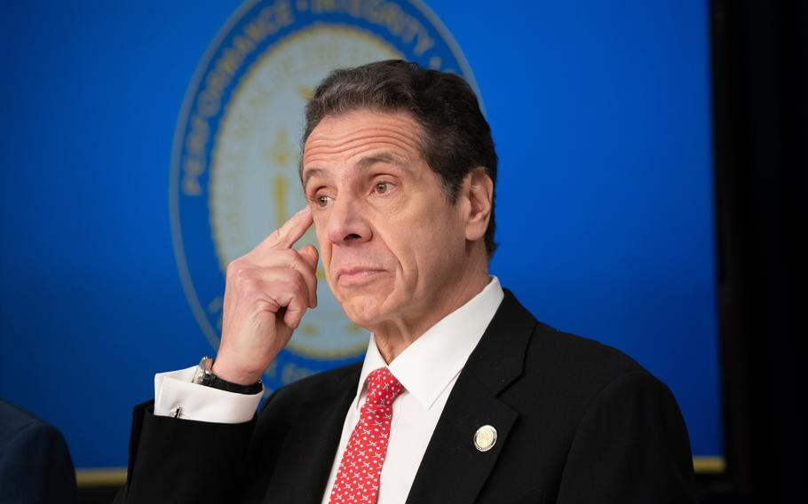 New York Gov. Andrew Cuomo listens during  a coronavirus news conference at the governor's Manhattan office March 2, 2020.