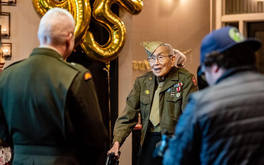 Fred Cheong Lee is shown at his 95th birthday party in 2019, where he received his Congressional Gold Medal certificate.