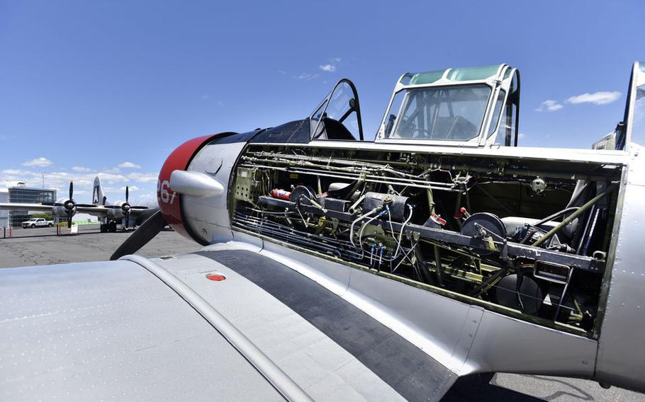 A 1940s era T6 Texan Advanced Trainer plane on display during the AirPower History Tour at Westfield-Barnes Regional Airport.