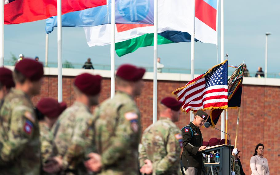 U.S. Army Col. Phillip J. Kiniery III, commander of 2nd Brigade, 82nd Airborne Division, speaks at an event in Nijmegen, Netherlands, Sept. 20, 2021, honoring U.S. paratroopers who died crossing the Waal River in September 1944.