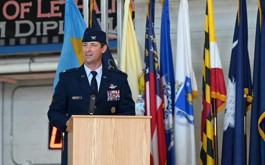 U.S. Air Force Col. Jack R. Arthaud, 33rd Wing incoming commander, speaks for the first time as commander during his change of command ceremony, July 30, 2021, at Eglin Air Force Base, Fla. Arthaud took command after serving as the Weapons School commander at Nellis Air Force Base, Nev.