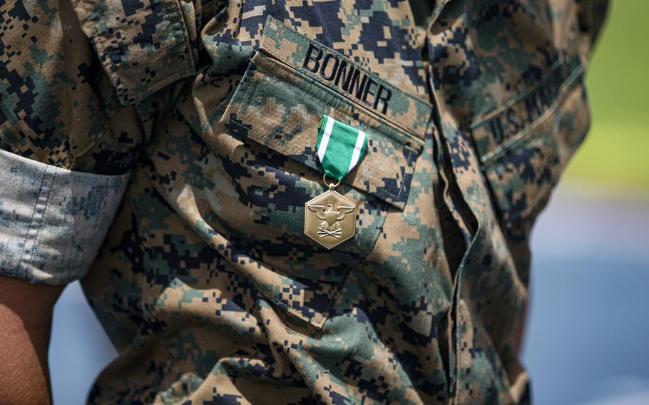Cpl. Dominick Bonner received the Navy and Marine Corps Commendation Medal at Marine Corps Air Station Futenma, Okinawa, June 8, 2021. Bonner, a chemical, biological, radiological and nuclear defense specialist with the 1st Marine Aircraft Wing, helped save a restaurant worker's life earlier this spring.