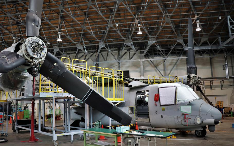A V-22 Osprey is repaired at Fleet Readiness Center Western Pacific near Naval Air Facility Atsugi, Japan, in this undated photo.