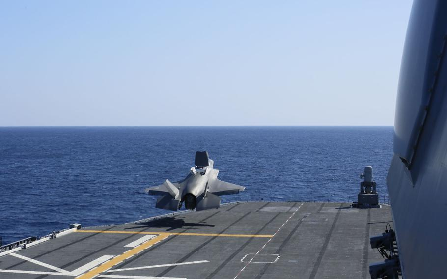 A Marine Corps F-35B Lightning II stealth fighter takes off from the JS Izumo, a Japanese helicopter carrier, in the Philippine Sea, Sunday, Oct. 3, 2021.