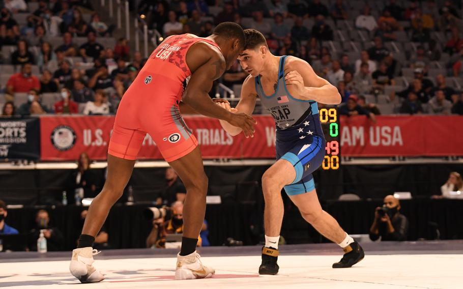 Spc. Alejandro Sancho (in blue) earned his spot on the U.S. Olympic Wrestling Team in the men's Greco-Roman 67kg weight class at the 2021 U.S. Wrestling Olympic Trials, April 2-3, in Fort Worth, Texas. Sancho defeated fellow World Class Athlete Program teammate Sgt. Ellis Coleman (in the red) in the finals.