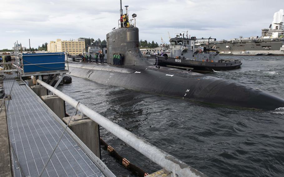The Seawolf-class fast-attack submarine USS Connecticut departs Naval Base Kitsap-Bremerton, Wash., for deployment on May 27, 2021. The Connecticut has been conducting maritime operations in the U.S. 3rd and 7th Fleet areas of operations to maintain a safe and open Indo-Pacific region.