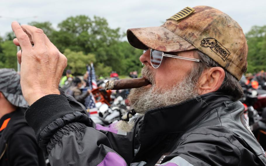 A participant in the Rolling to Remember ride awaits the signal to start at the RFK Stadium staging area, May 30, 2021 in Washington, D.C..