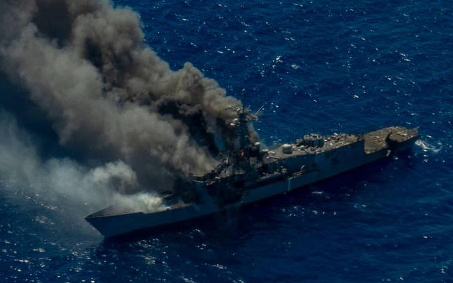 """The Navy and Marine Corps conducted long-range maritime strikes in the Hawaiian Islands Operating Area during a """"sinkex"""" (sinking exercise) on the decommissioned guided missile frigate formerly known as USS Ingraham on Sunday, Aug. 15, 2021."""