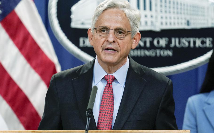 Attorney General Merrick Garland, speaking at the Justice Department in Washington, on Thursday, Sept. 9, 2021, announces a lawsuit to block the enforcement of new Texas law that bans most abortions .
