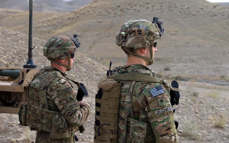 Soldiers of the 4th Infantry Division provide security in Afghanistan in 2018. In the future, a digital fiber could be stitched into uniforms and used to monitor soldiers' movements, vital signs and exposure to toxins, Army researchers said in a statement released June 14, 2021.