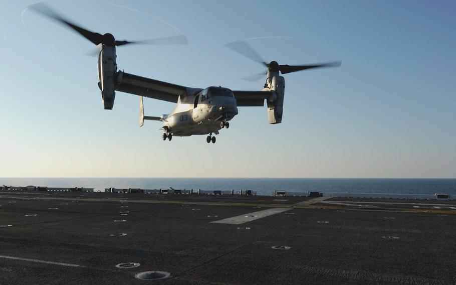An MV-22 Osprey lands on the flight deck of the amphibious assault ship USS Bataan on Oct. 29, 2013.