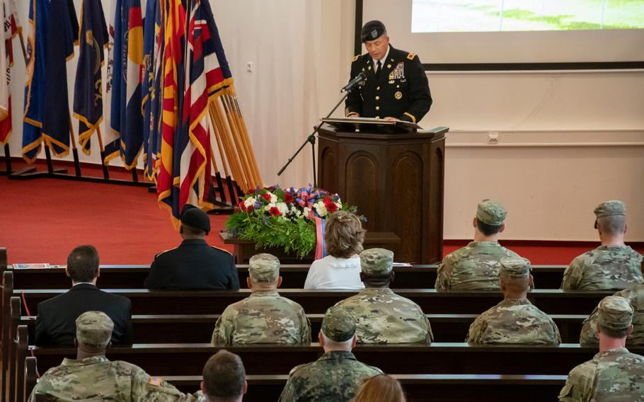 Army Col. Douglas Levien speaks at a 9/11 memorial at Daenner Chapel in Kaiserslautern, Germany, on Sept. 10, 2021.