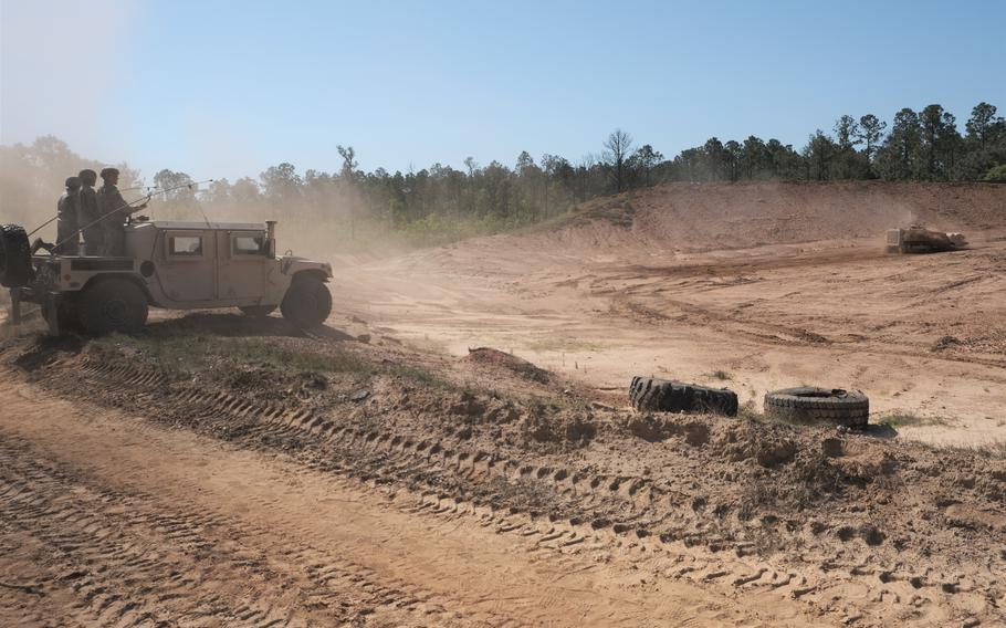 The 122nd Engineering Battalion, South Carolina National Guard, conducts an area clearance mission on Fort Jackson, S.C., in April, 2020, to clear the live hand grenade range using a robotic mine flail. The battalion celebrated its 75th anniversary on July 18, 2021.