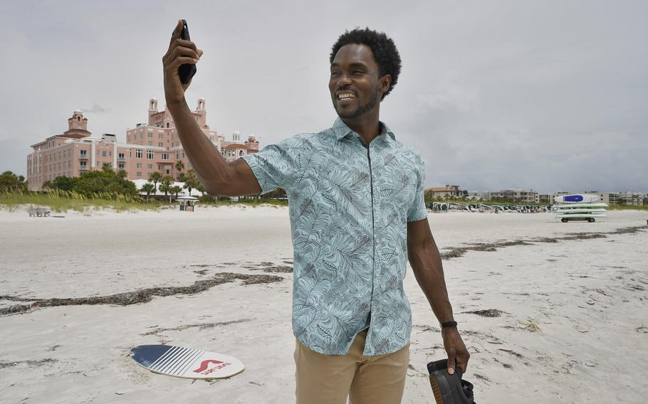 """Jared Wofford poses for photos outside of the Don CeSar hotel June 17 in St. Petersburg, Fla. Wofford portrays a bartender in the Amazon series """"Life's Rewards,"""" an original, scripted TV series commissioned by travel marketers in St. Petersburg and Clearwater, Fla."""