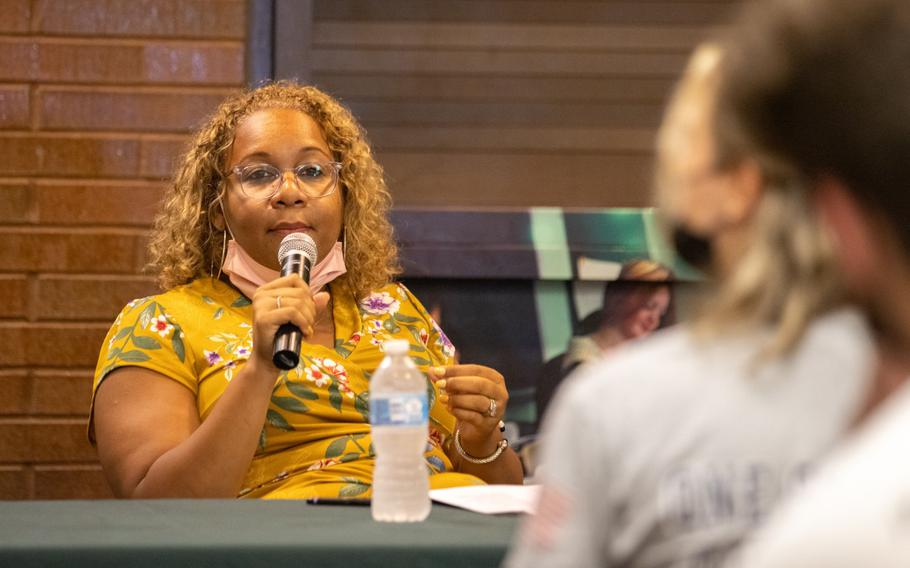 """Meisha Porter, chancellor of the New York City Department of Education, speaks during a news conference on the """"Vax To School"""" campaign at a high school in the Staten Island borough of New York on Aug. 10, 2021."""