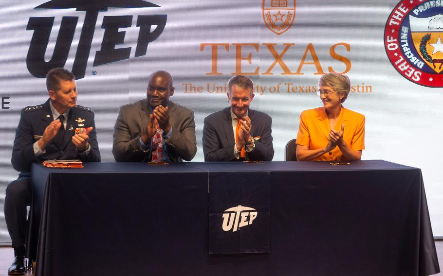 From left, U.S. Space Force Vice Chief of Space Operations Gen. David Thompson, University of Texas System Executive Vice Chancellor for Academic Affairs Archie Holmes Jr., UT Austin President Jay Hartzell and UTEP President Heather Wilson attend a news conference announcing a partnership program at UTEP's Fox Fine Arts Recital Hall on Aug. 26, 2021.