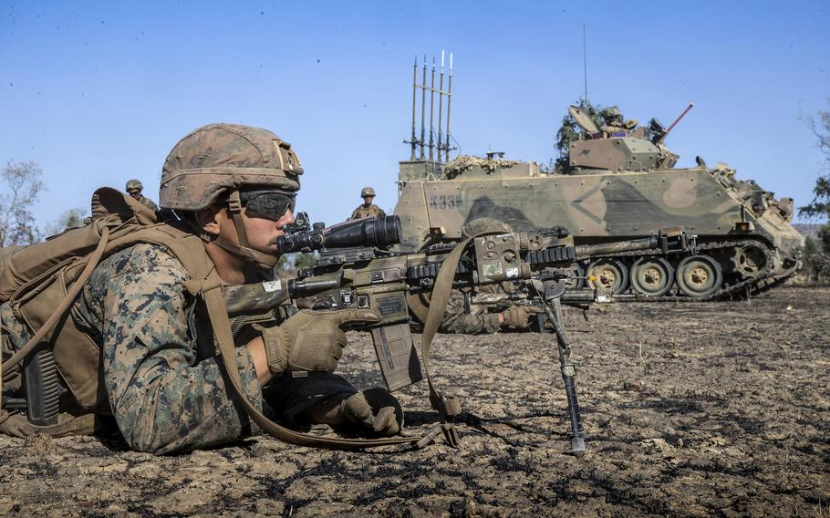 Lance Cpl. Yorvi Colladopichardo, a rifleman with Marine Rotational Force – Darwin, takes part in a drill at Bradshaw Field Training Area in Australia's Northern Territory, Aug. 25, 2021.