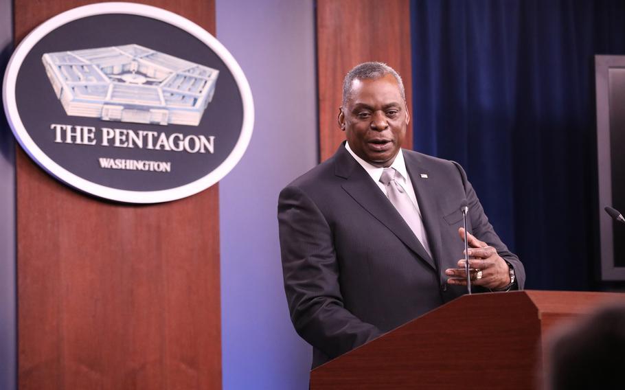 Defense Secretary Lloyd Austin speaks during a news briefing at the Pentagon Feb. 19, 2021.