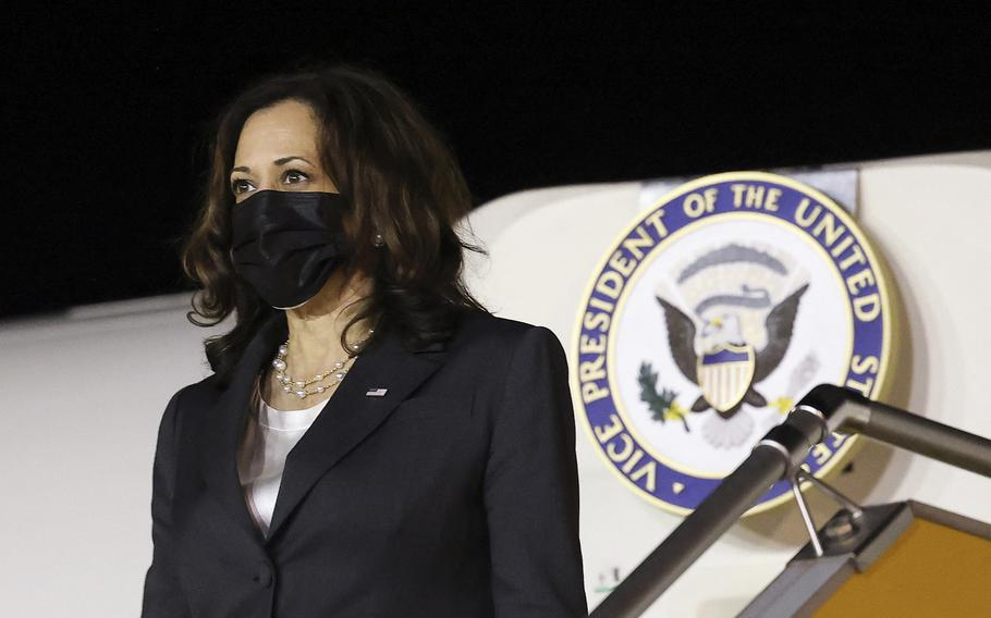 """Vice President Kamala Harris arrives at the airport in Hanoi, Vietnam, on Aug. 24, 2021. Harris landed in Vietnam after an """"anomalous health incident"""" in Hanoi delayed her flight from Singapore, the U.S. embassy said."""