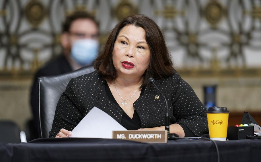 Sen. Tammy Duckworth, D-Ill., speaks during a Senate Armed Services Committee hearing on the conclusion of military operations in Afghanistan and plans for future counterterrorism operations, Tuesday, Sept. 28, 2021, on Capitol Hill in Washington.