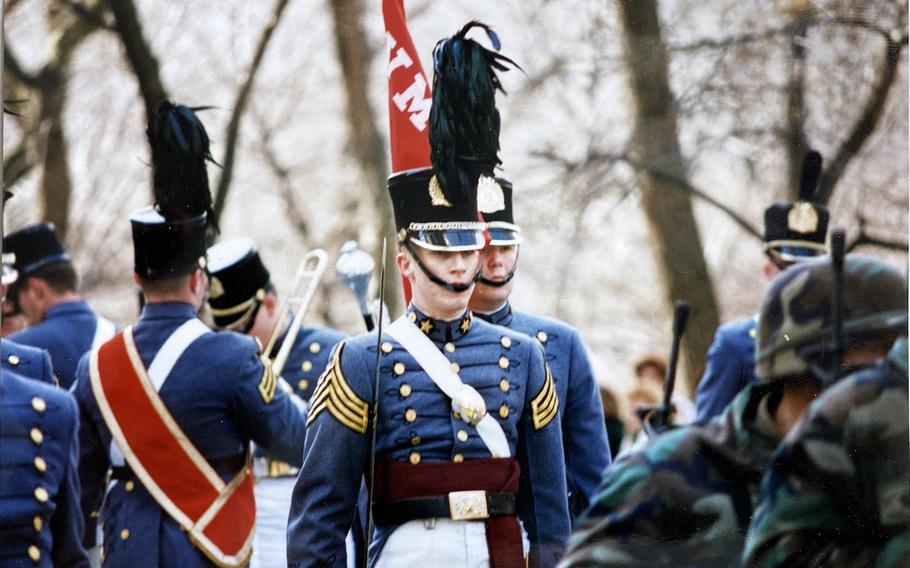Donnie Hasseltine has pushed VMI to remove its statue of Confederate Gen. Stonewall Jackson from its central location on campus and reconsider other tributes to the Confederacy. Hasseltine was a cadet captain and company commander his senior year when he participated in New York City's St. Patrick's Day Parade, shown here.