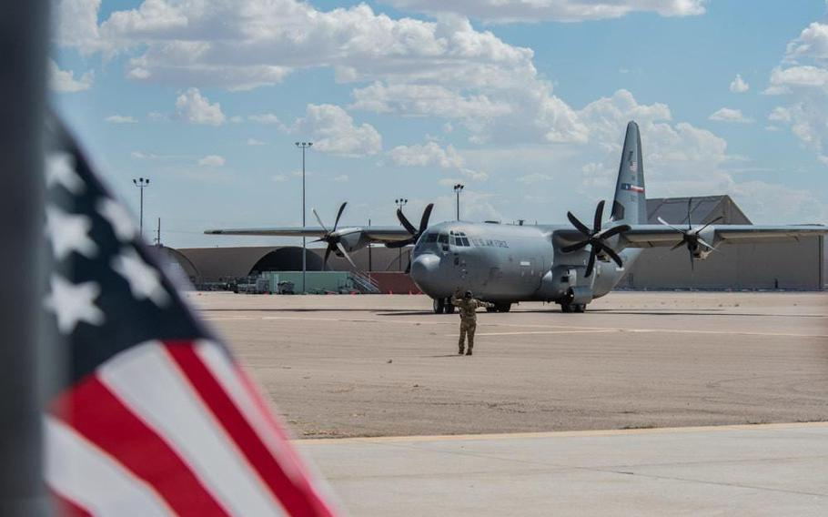 A C-130J Super Hercules carrying Afghan personnel taxis on the ramp at Holloman Air Force Base, N.M., August 31, 2021.