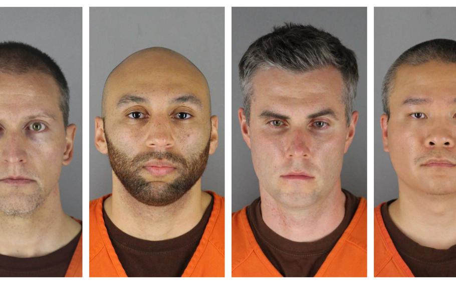 This combination of photos provided by the Hennepin County Sheriff's Office in Minnesota on Wednesday, June 3, 2020, shows from left, former Minneapolis police officers Derek Chauvin, J. Alexander Kueng, Thomas Lane and Tou Thao.