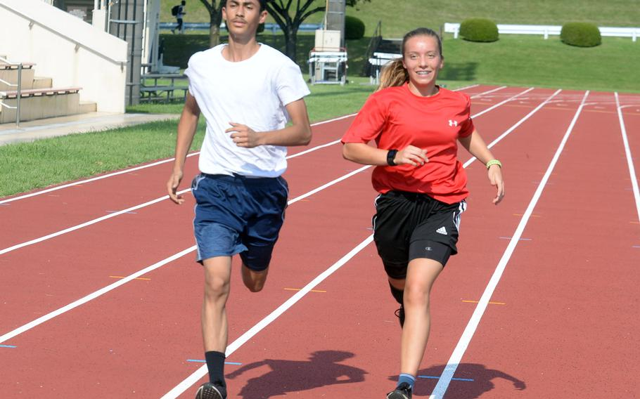 Gabriel Escalera and Aubrey Giles of Zama each finished third in Division II in last January's Far East virtual cross country meet.