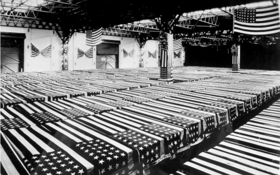 Caskets of U.S. service members are assembled in Antwerp, Belgium, for shipment home.