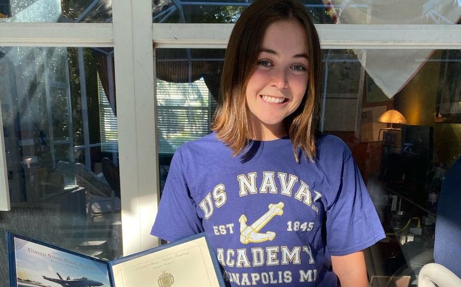 Elizabeth Meyer, a four-time regional swimmer from Spruce Creek High School, is headed to Annapolis, Md.,, where she will attend the U.S. Naval Academy.