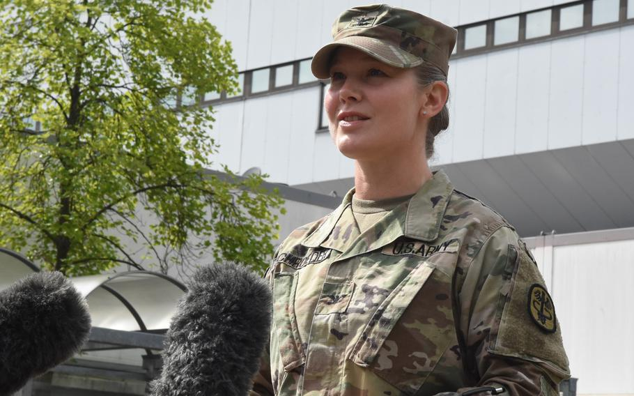 Army Col. Jodelie Schroeder, the chief nursing officer at Landstuhl Regional Medical Center, Germany, spoke Aug. 31, 2021, about the flood of emotions and pride she felt while caring for U.S. service members injured in the attack outside the airport in Kabul, Afghanistan, last week.