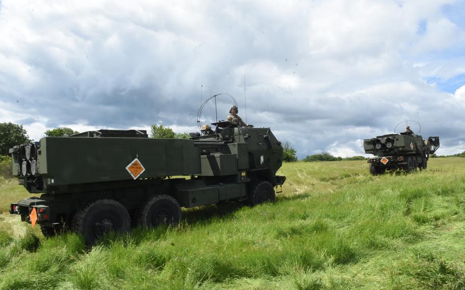 U.S. soldiers assigned to Alpha Battery, 1st Battalion, 77th Field Artillery Regiment, 41st Field Artillery Brigade, prepare to fire rockets at Novo Selo, Bulgaria, June 1, 2021.