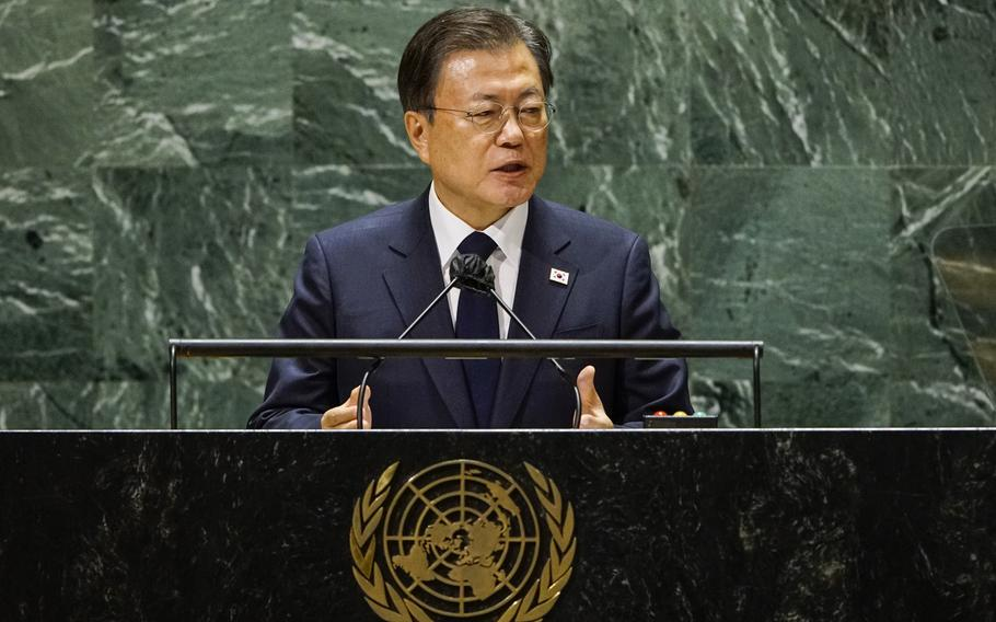 South Korea's President Moon Jae-in addresses the 76th session of the United Nations General Assembly in a pre-recorded message, Tuesday, Sept. 21, 2021, at UN headquarters.