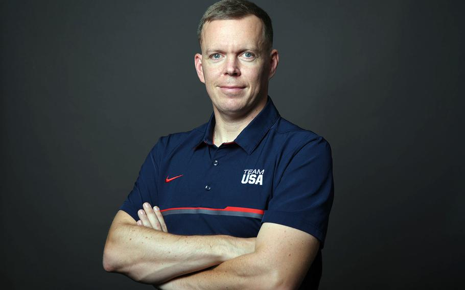 Army Sgt.1st Class Dennis  Bowscher is coaching Team USA in modern pentathlon at the Olympic Games in Tokyo.