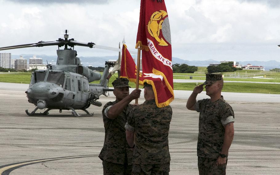 Brig. Gen. Brian Cavanaugh takes command of the 1st Marine Aircraft Wing from Brig. Gen. Christopher McPhillips at Marine Corps Air Station Futenma, Okinawa, Friday, June 11, 2021.