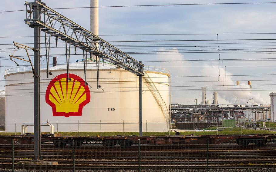 The Shell Pernis refinery in Rotterdam, Netherlands, is shown on April 27, 2021.